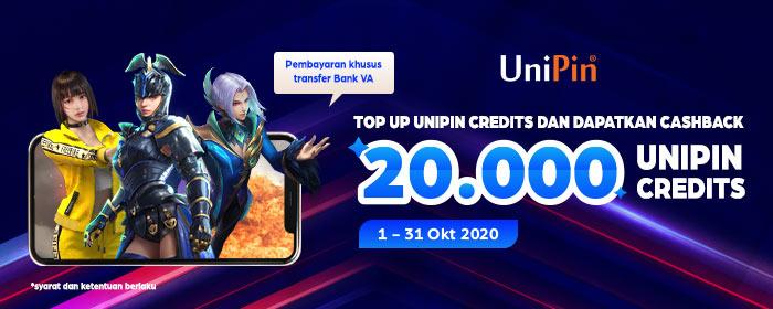 Buruan Top Up UniPin Credits melalui virtual account bank dan Nikmatin Cashback 20.000 UC!!