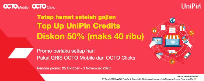 Unipin Payday Promo Diskon 50 Hingga Rp40 000 Top Up Uc Dengan Cimb Niaga Octo Clicks Atau Qr Octo Mobile