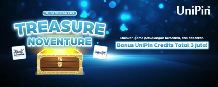 UniPin Treasure Noventure, Dapetin Cashback 70% Unipin Credits
