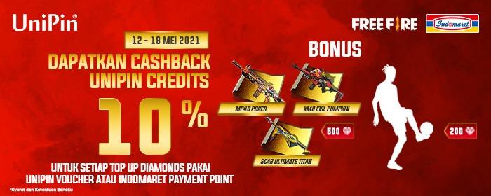 Dapatkan Bonus Emote dan Incubator Blueprint Free Fire serta cashback UniPin Credits 10%
