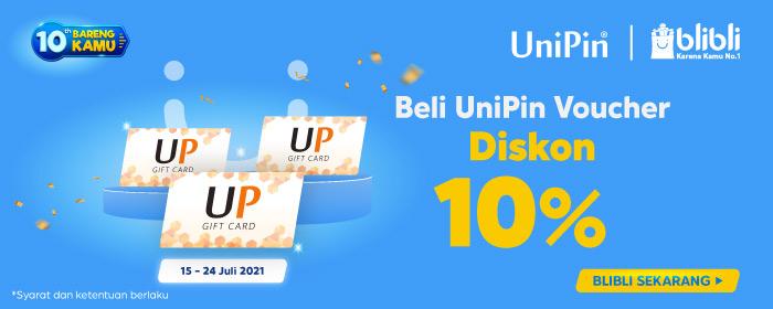 Beli UniPin Voucher diskon 10% di Blibli Anniversary