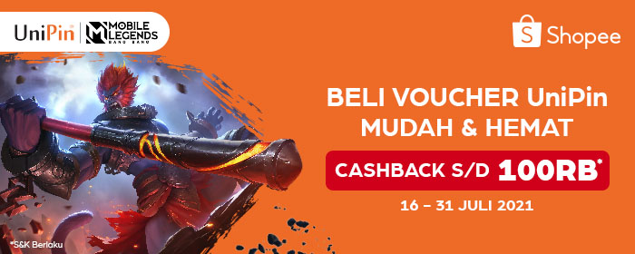 UniPin Voucher cashback hingga Rp 100.000 di Shopee!